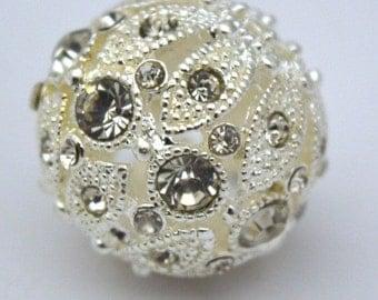 22 mm Silver Plated Rhinestone Decorative Bead