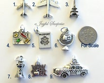Silver Travel Charm, Add on to any of my listings - 1 single Charm, airplane, lighthouse New York Passport Luggage Globe Eiffel Suitcase