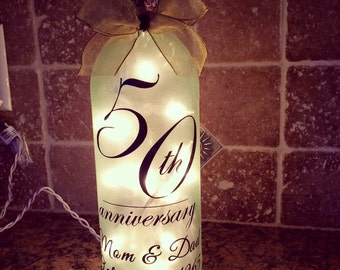Anniversary wine bottle light