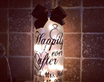 Happily ever after wedding wine bottle light