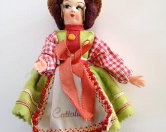 1980s Kitsch Doll - vintage doll - cute kitsch little cattolica doll - kitsch souvenir - kitsch doll
