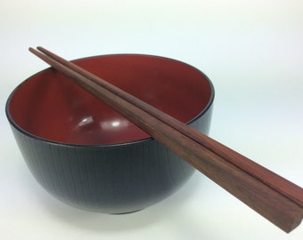 One Pair Red Wood Chopsticks Unique Wood Gain Handmade  Noodles Rice Kitchen Food Round Shape