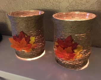 Fall leaves candle holder decorations