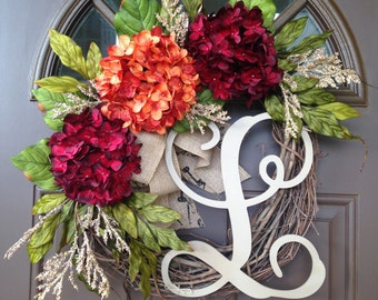 Summer  Wreath for Front Door - Red and Orange Hydrangea Wreath with Burlap Bow and Monogram - Grapevine Monogrammed Wreath - Wreath