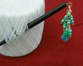 Mixed blue glass bead hairstick