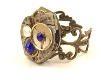 ROYAL BLUE & WHITE Steampunk Vintage Ring