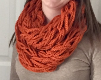Arm Knitted Infinity Scarf- Pumpkin (Orange)