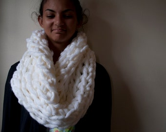 White Fluffy Cowl Scarf