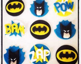24 x Batman inspired Superhero Cupcake Toppers - Edible, Fondant, Handmade, Pow, Bam, Cake