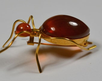 Beautiful natural honey Baltic amber spider bug Halloween pin brooch