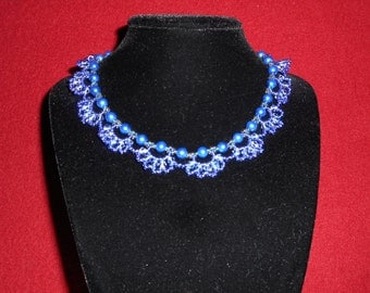 Lacy blue choker necklace