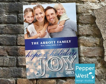 Holiday Joy Christmas Card / Holiday Card / Photo Card / Digital / Printable / Silver / Blue / Glitter