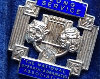 Cased Silver Long Service Medal for the National Operatic and Dramatic Association c/w Ribbon - named with 2 Bars Attatched