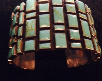 Turquoise Mosaic Cuff 925 Sterling Silver