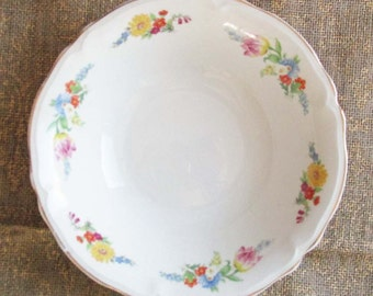 Edwin Knowles China Bowl, 1940s Flowered China Bowl, Vintage Dinnerware