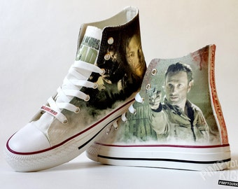 The Walking Dead inspired custom shoe decoration with Daryl and Rick