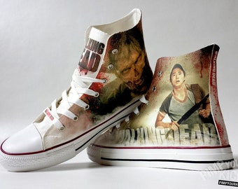 The Walking Dead inspired custom shoe decoration with Glenn and a zombie
