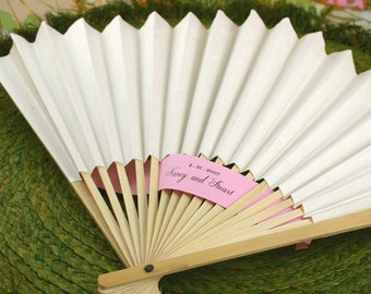 White Paper Fans -Wedding, Birthday, Anniversary Favors - 12 pieces