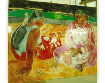 """Gauguin """"Two Tahitians"""". Painting on the mirror."""