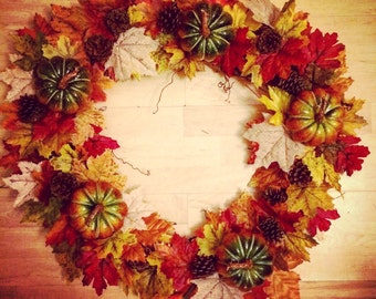 Fall leaf wreath/Fall Pumpkin Wreath/Harvest Wreath/Thanksgiving wreath