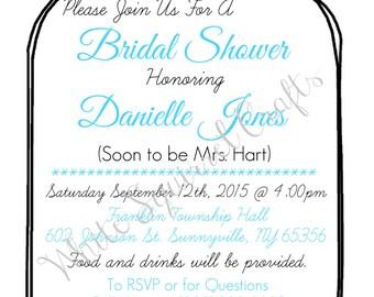 Custom Mason Jar Bridal Shower Invite