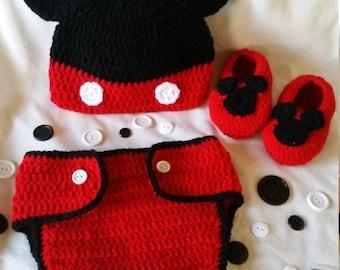 Mickey Mouse  Crochet Baby Set