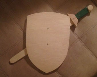 Plain Wooden Shield with Sword