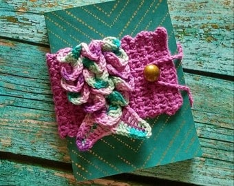 Teal and Gold Journal With Cream Lined Pages and Purple Crocheted Notebook Cover With Mermaid Tail Applique With Gold Button Closure