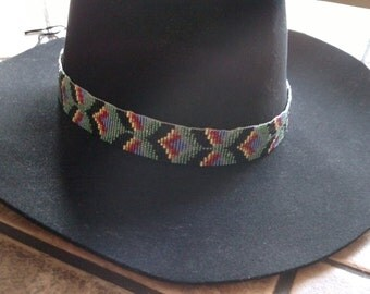 Beaded cowboy hat band with 3D design