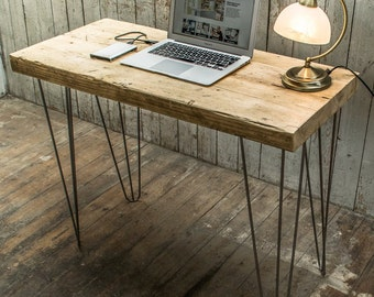 Super Chunky Desk / Console Table with Hairpin Legs - Natural Wax Finish