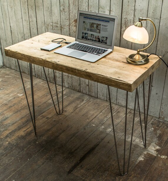 super chunky desk console table with hairpin legs. Black Bedroom Furniture Sets. Home Design Ideas