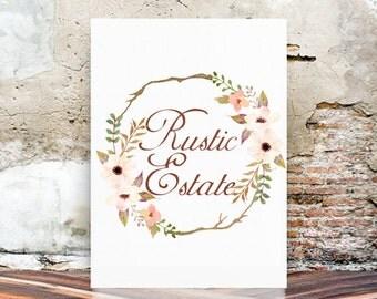 Watercolor Logo - Premade Logo Design - Vintage Watercolor Logo - Floral logo - Wedding Logo