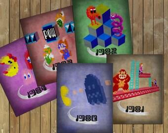 Video Game History 1980 - 1984 Art Print Set of 5 (Pac-Man, Donkey Kong, Q*bert, Mario Bros, Mrs Pac-Man)