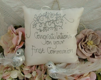 Hand painted pillow - Congratulations on your First Communion