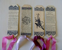 Vintage Bookmark, Vintage Book Paper, Booklover Gift, Hand Decorated, Lace Decoration