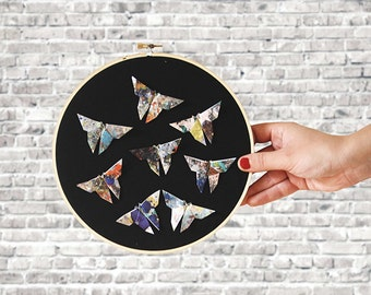 Hoop embroidery X Origami | Butterflies | Original and artisanal decoration