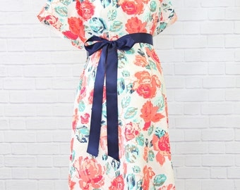 Everly's Garden | Navy and Coral Floral Maternity Hospital Gown | Ready to Ship