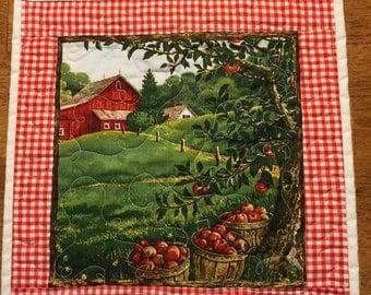 Apple harvest farm scene placemat