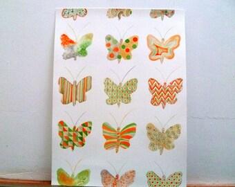 Original watercolor butterflies orange and green
