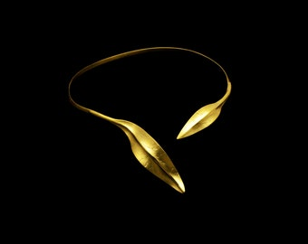 Sterling Silver Olive Leaf Collar Necklace, Gold or Rhodium plated