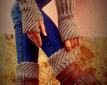 Crochet Pattern  Boot Cuffs- Boot Cuffs & Fingerless Gloves Crochet Pattern - Instant download