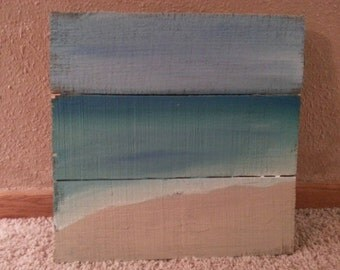 Beach Art, Beach Paniting on upcycled pallet wood, ocean on repurposed wood