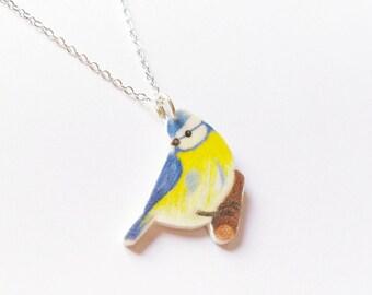 Blue tit necklace-silver