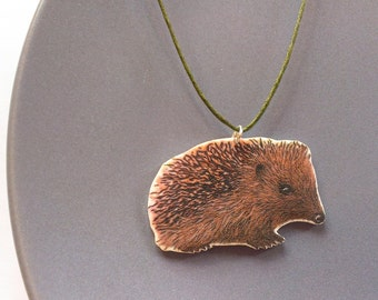 Hedgehog necklace green o. Silver