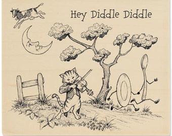 HEY DIDDLE DIDDLE Nursery Rhymes Mounted Rubber Stamp
