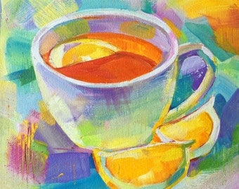 still life cup of tea and lemon ORIGINAL acrylics on canvas kitchen art gift home decor