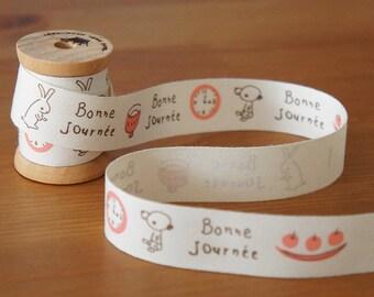 2 metres/10 metres: Bonne Journee Zakka Cotton Ribbon 20mm Pink Brown Cute Rabbit Bear French Greetings Sewing Label Scrapbook Craft DIY