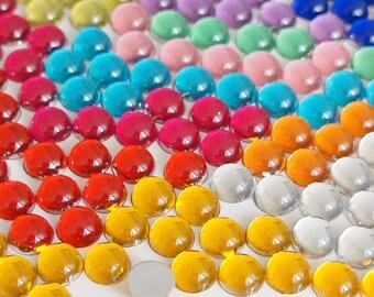 Mixed Color 3-12mm Dome Hemisphere Acrylic Flatback Rhinestones Cabochons Scrapbooking Nail Craft - 1000pcs per Pack