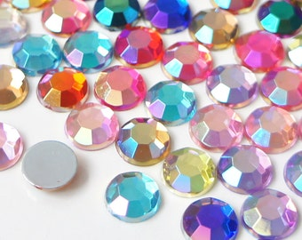 Mixed AB Colors 1.5mm-8mm Acrylic Flatback Rhinestones Scrapbooking Nail Craft - Iridescent - 1000pcs./ set