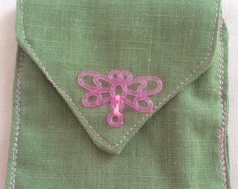 Girl's coin purse, green coin pocket, girls green coin pocket, embroidered green coin pocket, girl's coin purse, tea bag holder, coin purse
